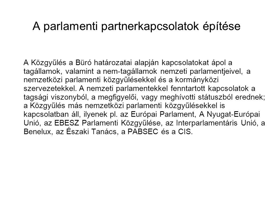 A parlamenti partnerkapcsolatok építése A Közgyűlés a Büró határozatai alapján kapcsolatokat ápol a tagállamok, valamint a nem-tagállamok nemzeti parlamentjeivel, a nemzetközi parlamenti közgyűlésekkel és a kormányközi szervezetekkel.