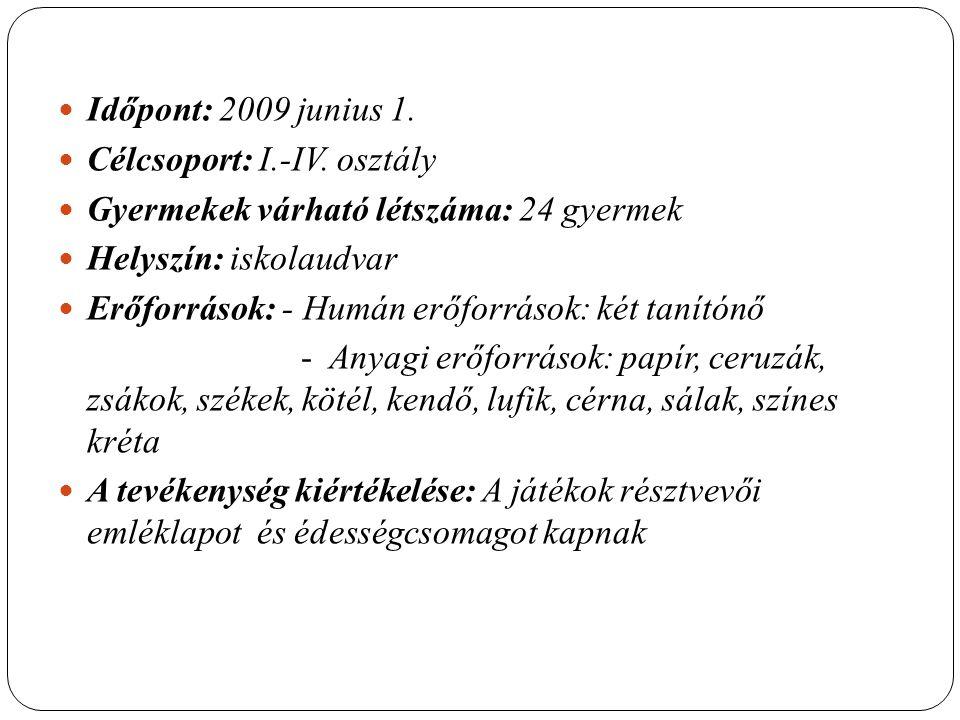 Időpont: 2009 junius 1. Célcsoport: I.-IV.