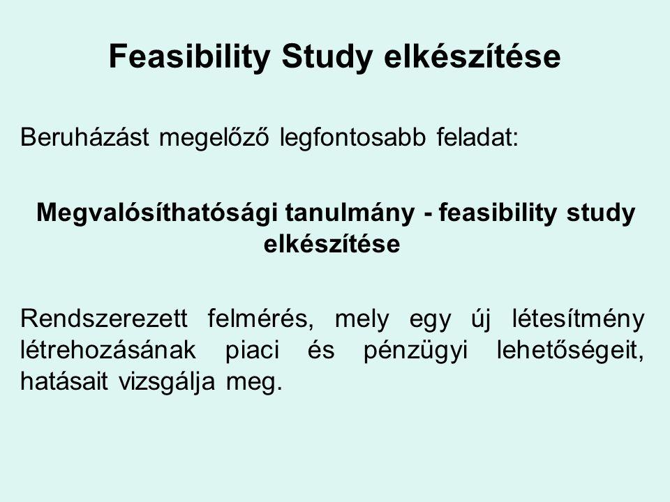 Feasibility Study elkészítése A megvalósíthatósági tanulmány általánosságban a következő részeket tartalmazza: Tulajdonos, beruházó adatai Telepítés helye, megnevezése területi régió vizsgálata versenyhelyzet vizsgálata kereslet vizsgálata az ingatlan típusa, méretei telepítés (fekvés, környezet) tervei Alapkapacitások Várható energiafelhasználás