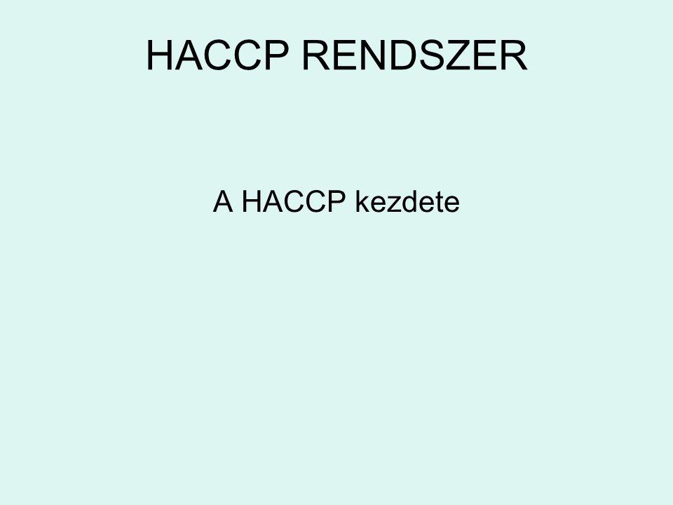 HACCP RENDSZER A HACCP kezdete