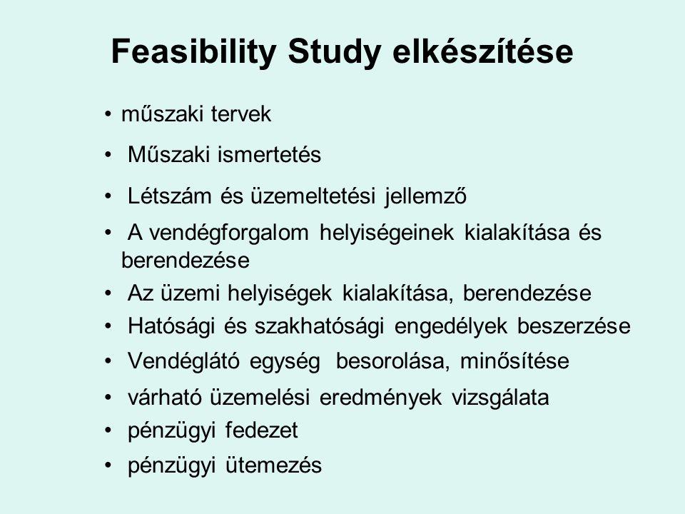 Feasibility Study elkészítése műszaki tervek Műszaki ismertetés Létszám és üzemeltetési jellemző A vendégforgalom helyiségeinek kialakítása és berende