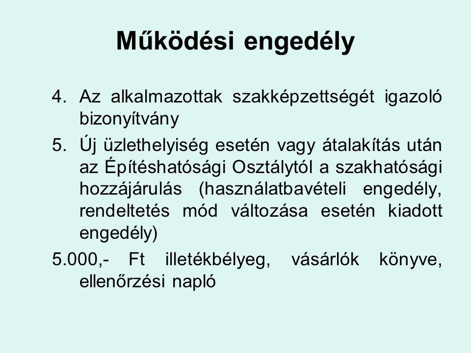 Vendéglátó üzletek kategóriába sorolása 43/1998.