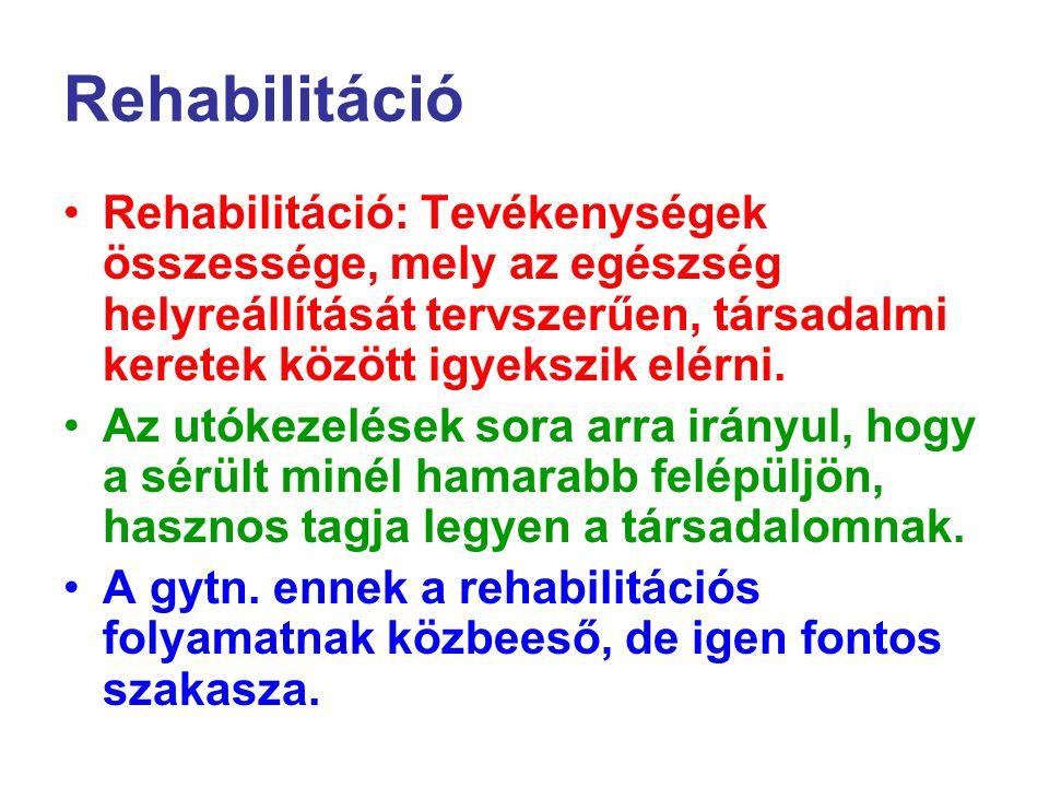 Rehabilitáció Rehabilitáció: Tevékenységek összessége, mely az egészség helyreállítását tervszerűen, társadalmi keretek között igyekszik elérni. Az ut