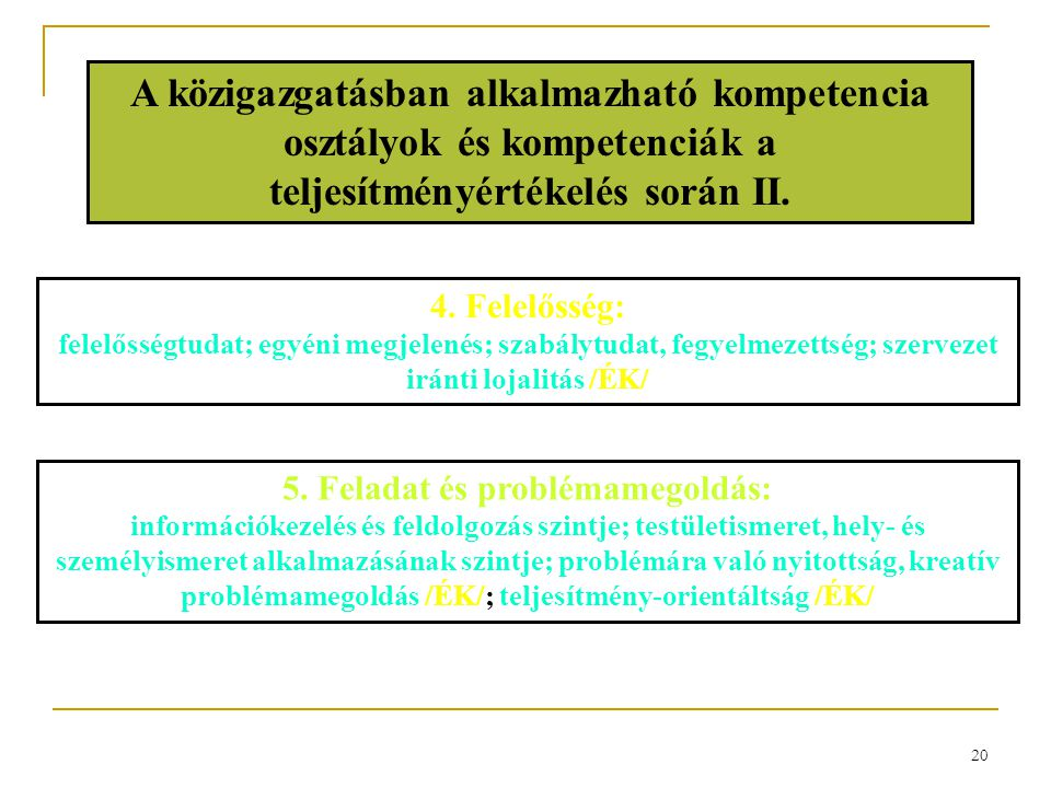 20 A közigazgatásban alkalmazható kompetencia osztályok és kompetenciák a teljesítményértékelés során II. 4. Felelősség: felelősségtudat; egyéni megje