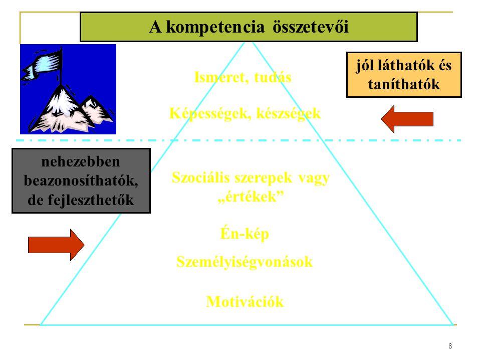 """8 Ismeret, tudás Szociális szerepek vagy """"értékek"""" Én-kép Személyiségvonások Motivációk A kompetencia összetevői Képességek, készségek jól láthatók és"""