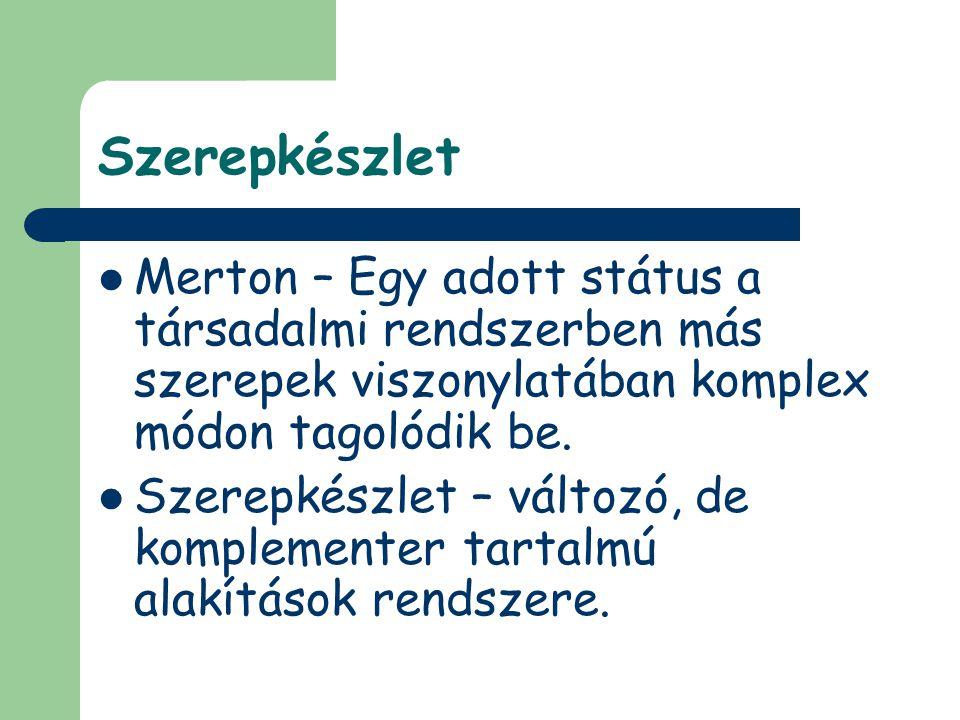 Szerepkészlet Merton – Egy adott státus a társadalmi rendszerben más szerepek viszonylatában komplex módon tagolódik be. Szerepkészlet – változó, de k