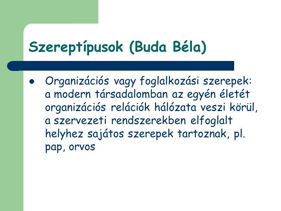 Szereptípusok (Buda Béla) Organizációs vagy foglalkozási szerepek: a modern társadalomban az egyén életét organizációs relációk hálózata veszi körül,