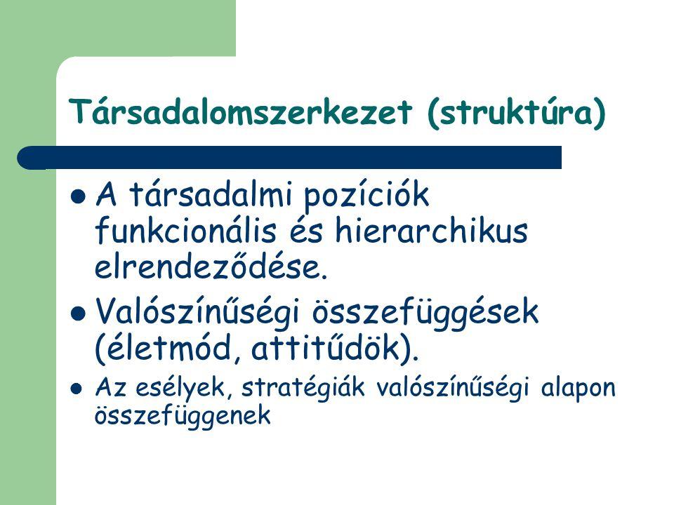 Társadalomszerkezet (struktúra) A társadalmi pozíciók funkcionális és hierarchikus elrendeződése. Valószínűségi összefüggések (életmód, attitűdök). Az