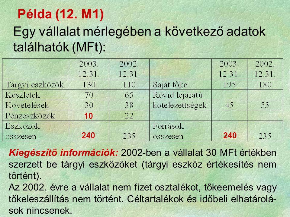 Példa (12. M1) Egy vállalat mérlegében a következő adatok találhatók (MFt): Kiegészítő információk: 2002-ben a vállalat 30 MFt értékben szerzett be tá
