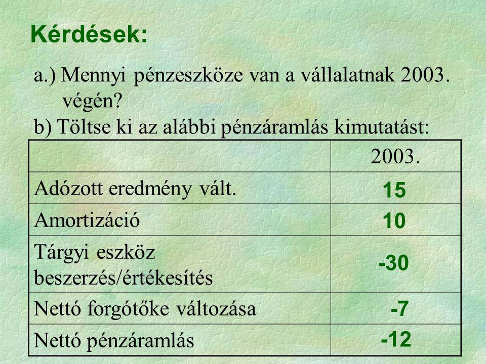 Kérdések: a.) Mennyi pénzeszköze van a vállalatnak 2003. végén? b) Töltse ki az alábbi pénzáramlás kimutatást: 2003. Adózott eredmény vált. Amortizáci