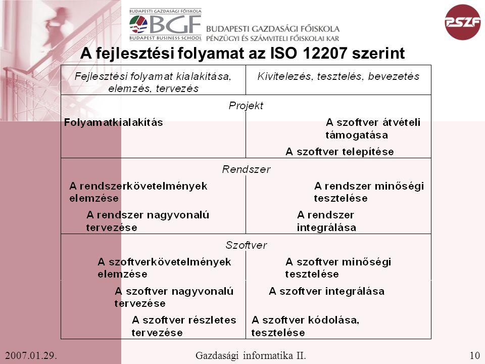 10Gazdasági informatika II.2007.01.29. A fejlesztési folyamat az ISO 12207 szerint