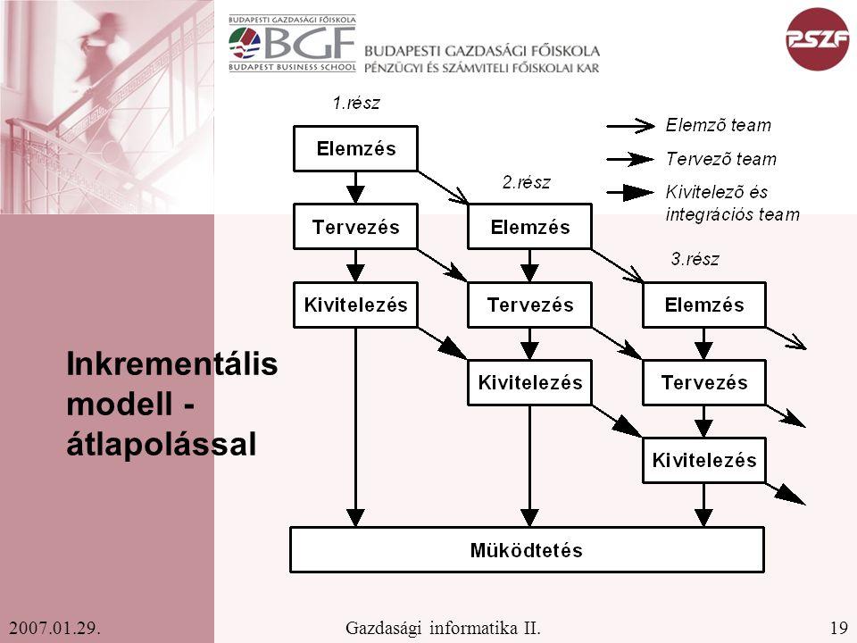 19Gazdasági informatika II.2007.01.29. Inkrementális modell - átlapolással