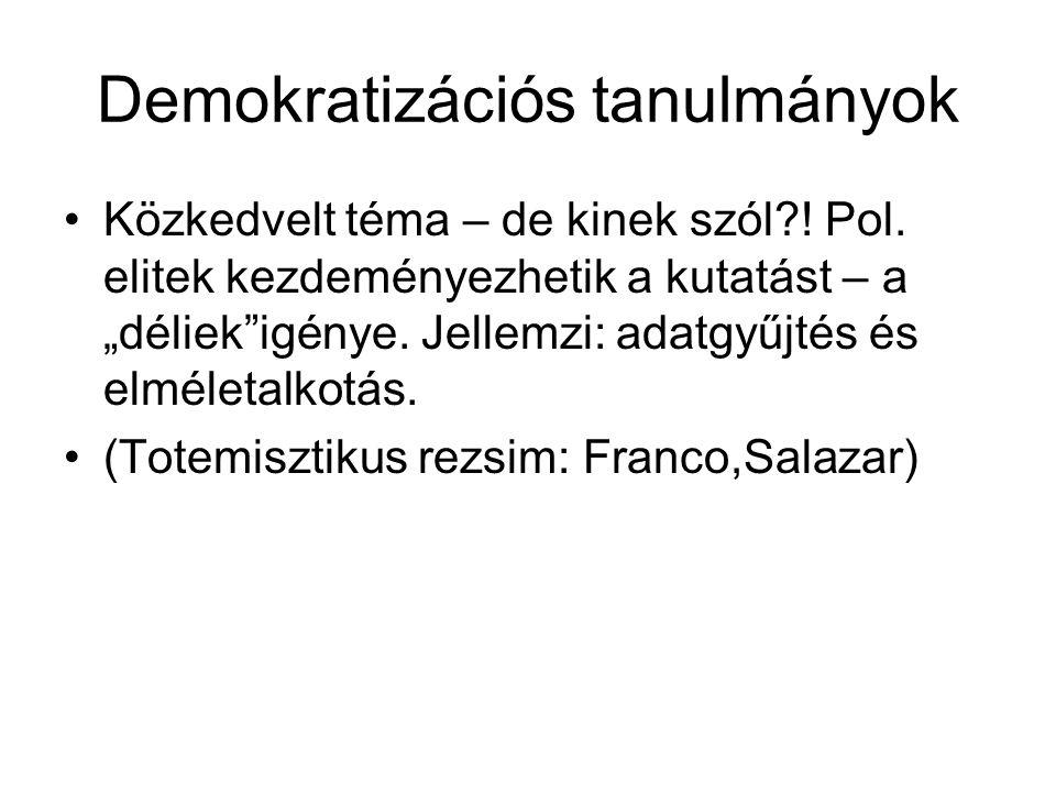Demokratizációs tanulmányok Közkedvelt téma – de kinek szól .