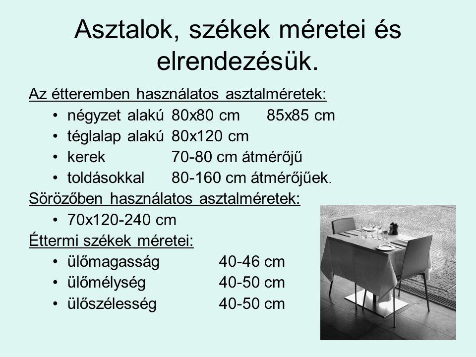 Asztalok, székek méretei és elrendezésük.