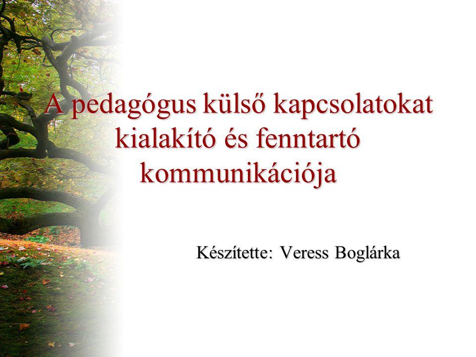 A pedagógus külső kapcsolatokat kialakító és fenntartó kommunikációja Készítette: Veress Boglárka