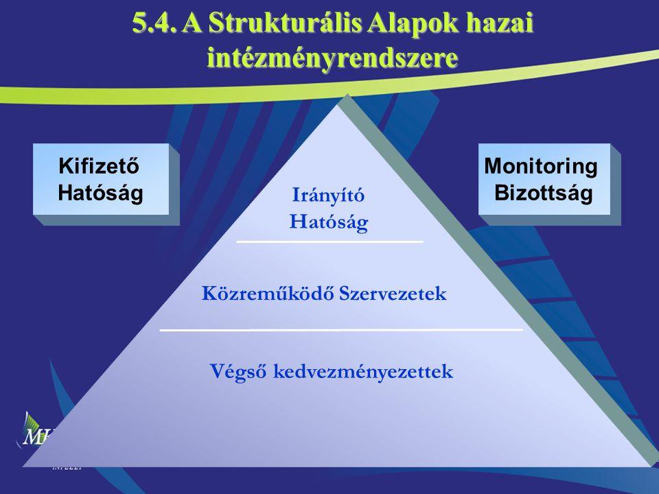 16 Irányító Hatóság Közreműködő Szervezetek Végső kedvezményezettek Kifizető Hatóság Monitoring Bizottság 5.4. A Strukturális Alapok hazai intézményre