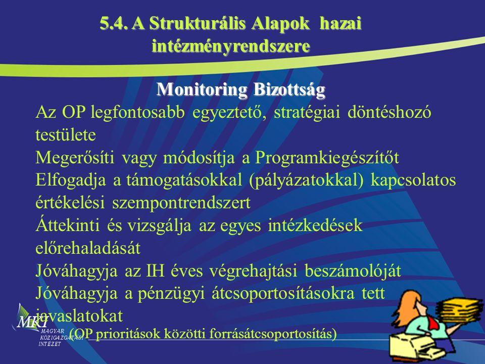 18 Monitoring Bizottság Monitoring Bizottság Az OP legfontosabb egyeztető, stratégiai döntéshozó testülete Megerősíti vagy módosítja a Programkiegészítőt Elfogadja a támogatásokkal (pályázatokkal) kapcsolatos értékelési szempontrendszert Áttekinti és vizsgálja az egyes intézkedések előrehaladását Jóváhagyja az IH éves végrehajtási beszámolóját Jóváhagyja a pénzügyi átcsoportosításokra tett javaslatokat (OP prioritások közötti forrásátcsoportosítás) 5.4.