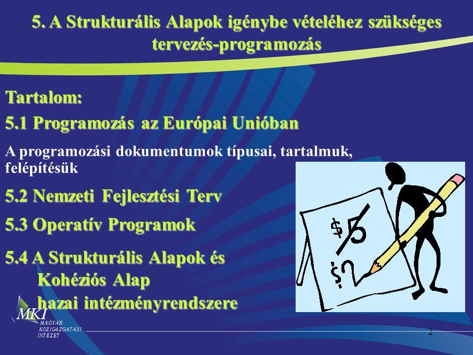 2 Tartalom: 5.1 Programozás az Európai Unióban A programozási dokumentumok típusai, tartalmuk, felépítésük 5.2 Nemzeti Fejlesztési Terv 5.3 Operatív Programok 5.4 A Strukturális Alapok és Kohéziós Alap Kohéziós Alap hazai intézményrendszere hazai intézményrendszere 5.