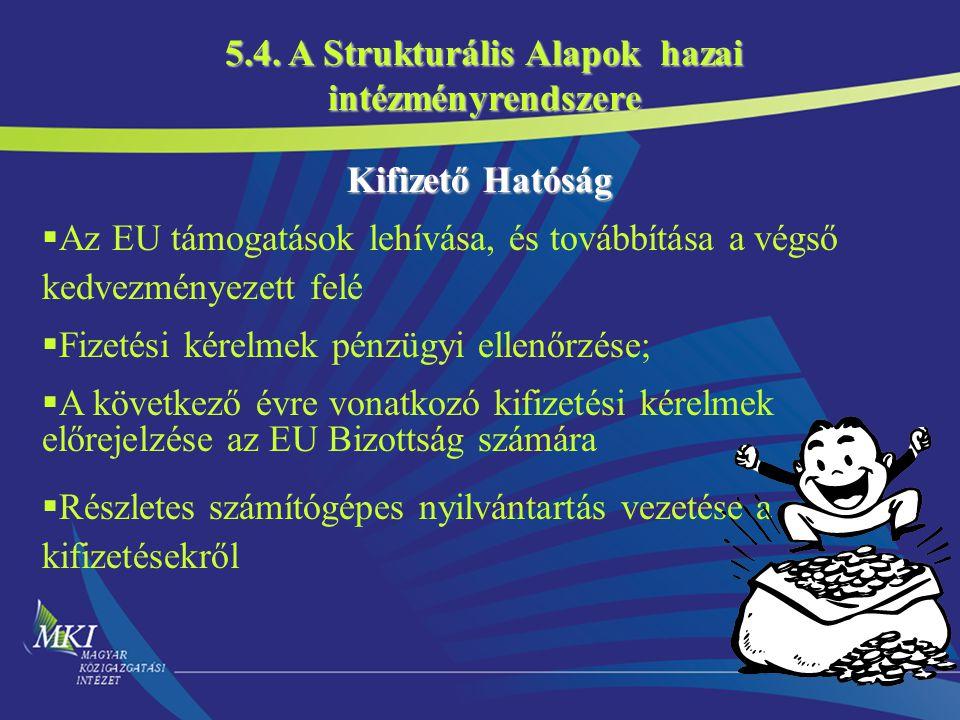 20 Kifizető Hatóság  Az EU támogatások lehívása, és továbbítása a végső kedvezményezett felé  Fizetési kérelmek pénzügyi ellenőrzése;  A következő