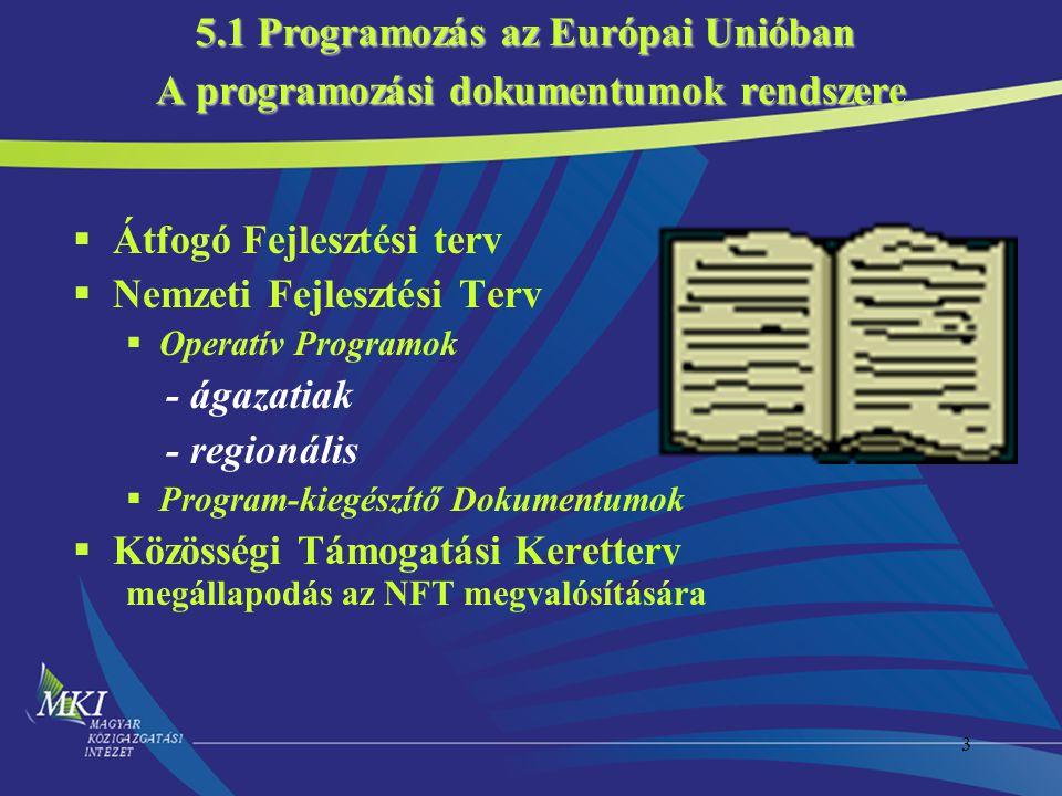 3 A programozási dokumentumok rendszere  Átfogó Fejlesztési terv  Nemzeti Fejlesztési Terv  Operatív Programok - ágazatiak - regionális  Program-kiegészítő Dokumentumok  Közösségi Támogatási Keretterv megállapodás az NFT megvalósítására 5.1 Programozás az Európai Unióban