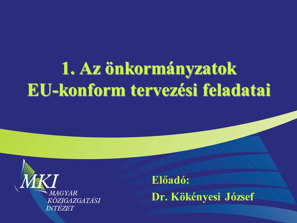 Előadó: Dr. Kökényesi József 1. Az önkormányzatok EU-konform tervezési feladatai