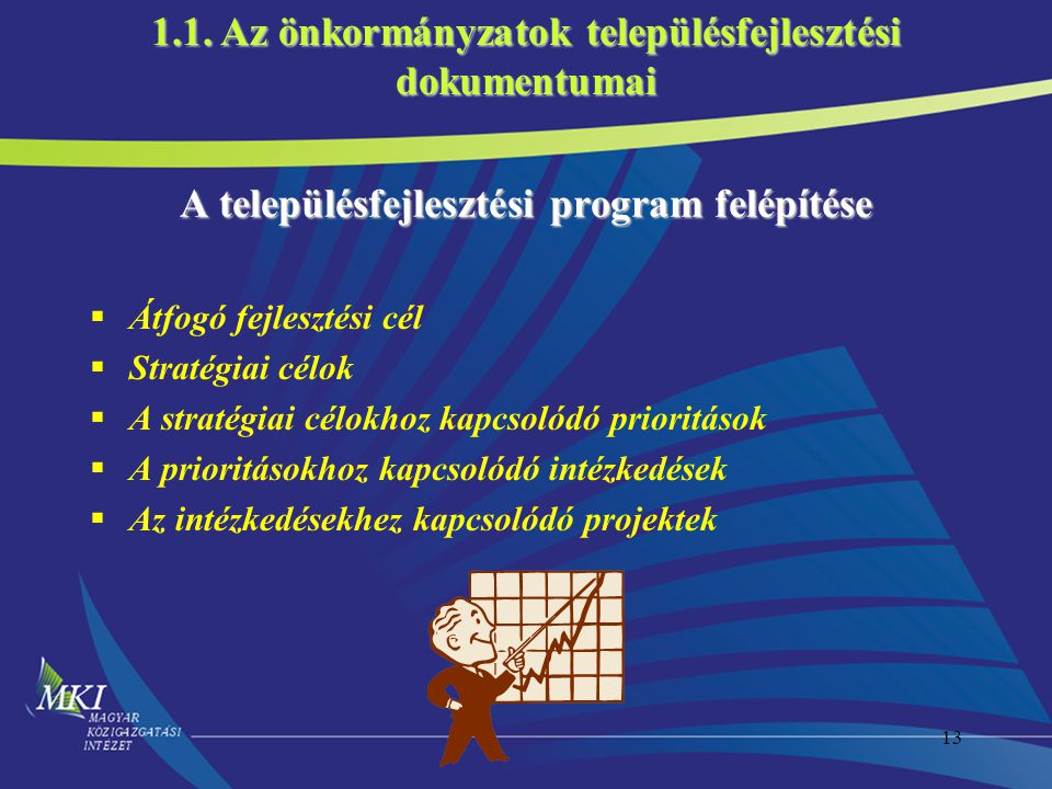 13 A településfejlesztési program felépítése  Átfogó fejlesztési cél  Stratégiai célok  A stratégiai célokhoz kapcsolódó prioritások  A prioritásokhoz kapcsolódó intézkedések  Az intézkedésekhez kapcsolódó projektek 1.1.