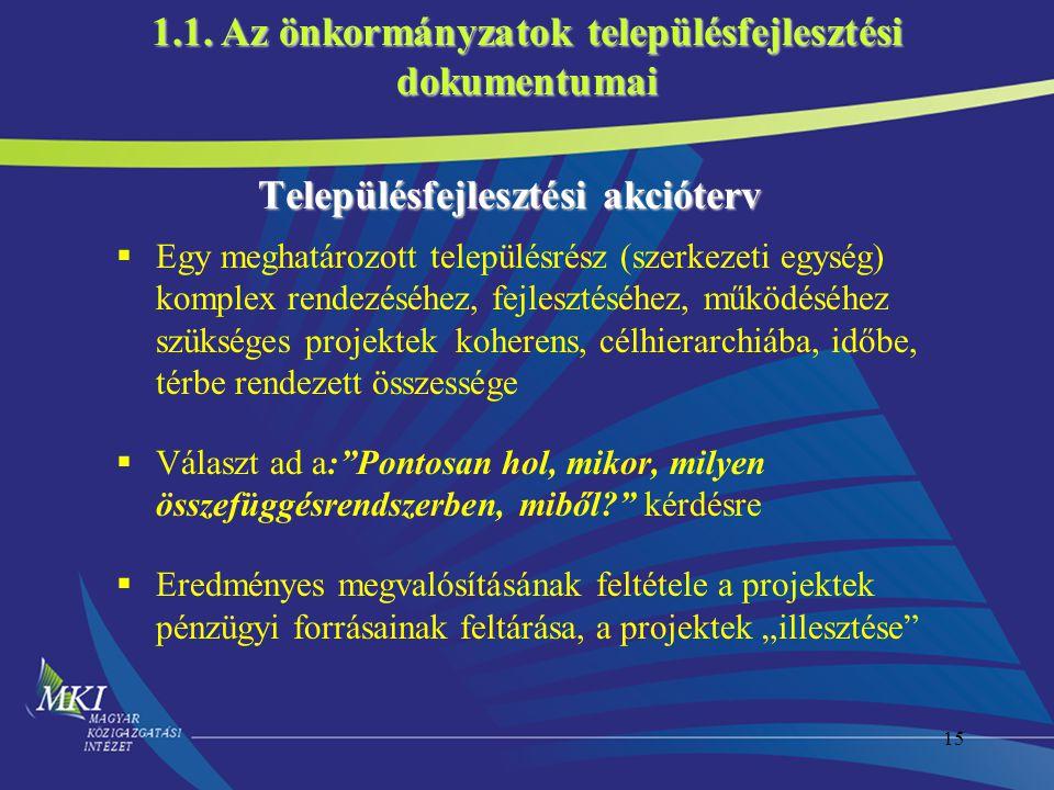 15 Településfejlesztési akcióterv  Egy meghatározott településrész (szerkezeti egység) komplex rendezéséhez, fejlesztéséhez, működéséhez szükséges pr