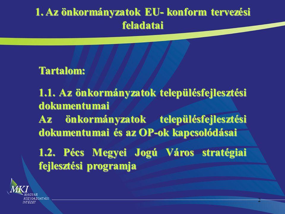 2 Tartalom: 1.1. Az önkormányzatok településfejlesztési dokumentumai Az önkormányzatok településfejlesztési dokumentumai és az OP-ok kapcsolódásai 1.2