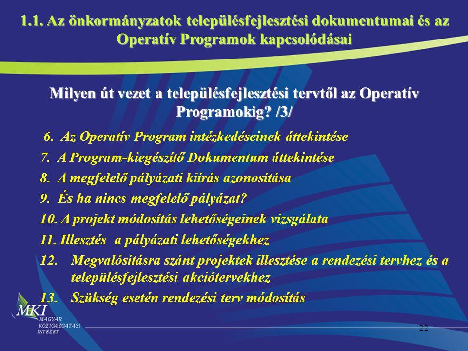 22 Milyen út vezet a településfejlesztési tervtől az Operatív Programokig? /3/ 6. Az Operatív Program intézkedéseinek áttekintése 7. A Program-kiegész