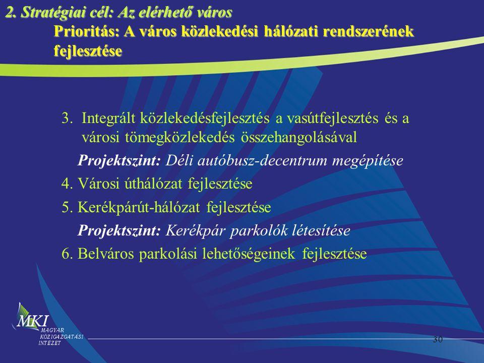 30 2. Stratégiai cél: Az elérhető város Prioritás: A város közlekedési hálózati rendszerének fejlesztése 3. Integrált közlekedésfejlesztés a vasútfejl