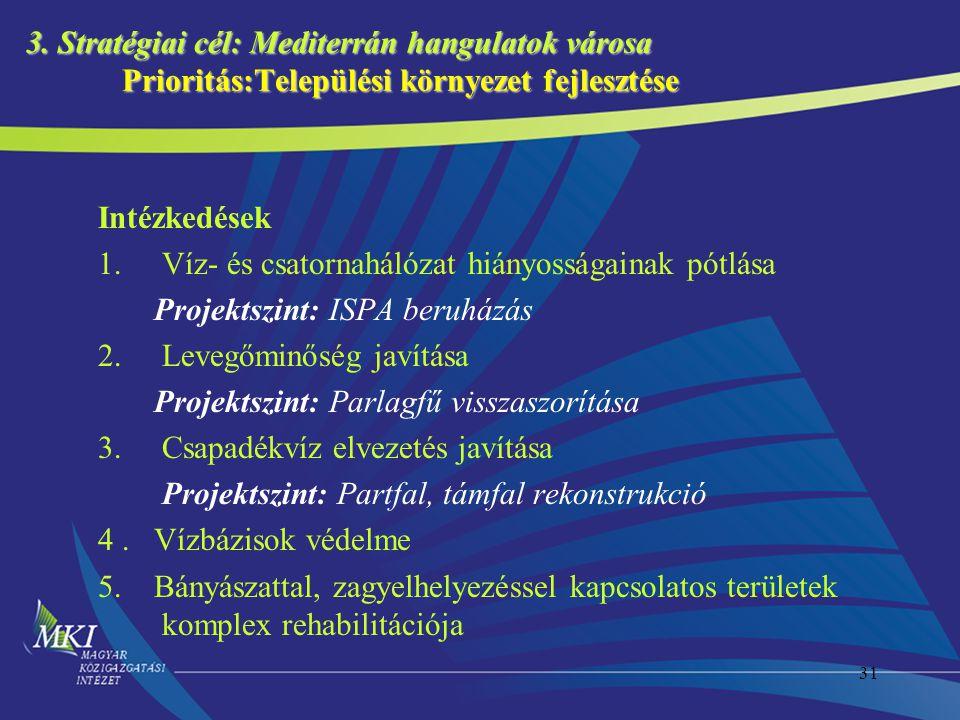31 3. Stratégiai cél: Mediterrán hangulatok városa Prioritás:Települési környezet fejlesztése Intézkedések 1.Víz- és csatornahálózat hiányosságainak p