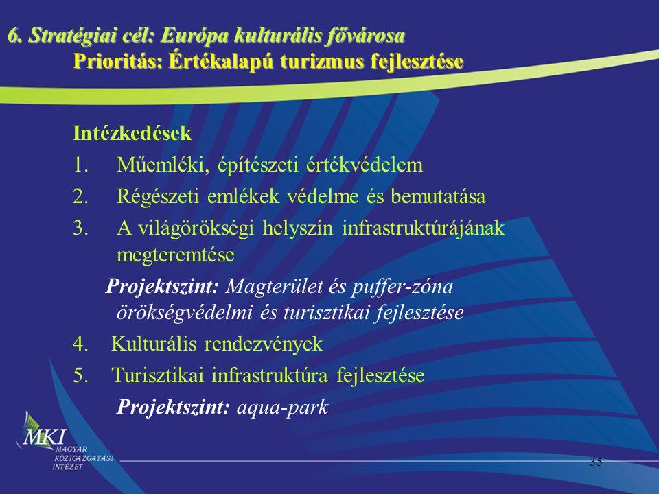 35 6. Stratégiai cél: Európa kulturális fővárosa Prioritás: Értékalapú turizmus fejlesztése Intézkedések 1.Műemléki, építészeti értékvédelem 2.Régésze