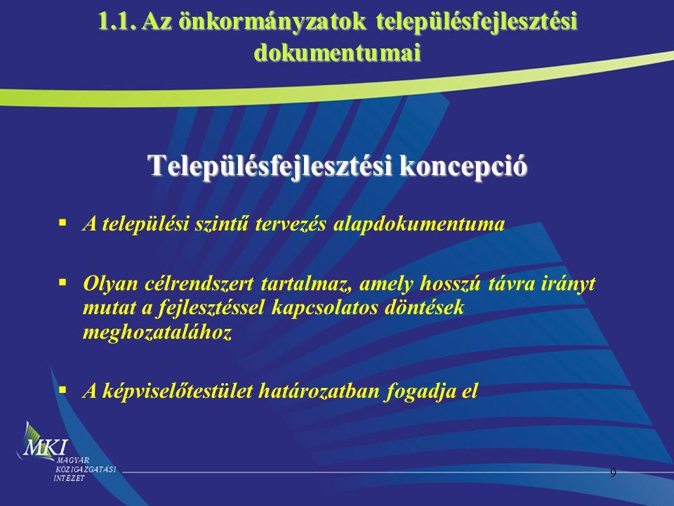 20 1.Településfejlesztési koncepció 2.Településfejlesztési program 3.Prioritások és intézkedések meghatározása 4.Településfejlesztési projektek definiálása Milyen út vezet a településfejlesztési tervtől az Operatív Programokig.
