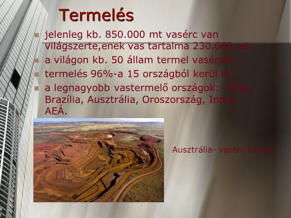 Termelés jelenleg kb.850.000 mt vasérc van világszerte,enek vas tartalma 230.000 mt a világon kb.