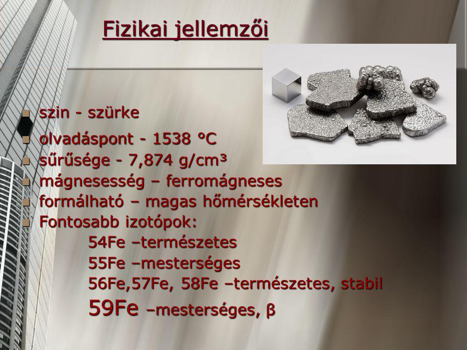 Fizikai jellemzői szin - szürke szin - szürke olvadáspont - 1538 °C olvadáspont - 1538 °C sűrűsége - 7,874 g/cm³ sűrűsége - 7,874 g/cm³ mágnesesség – ferromágneses mágnesesség – ferromágneses formálható – magas hőmérsékleten formálható – magas hőmérsékleten Fontosabb izotópok: Fontosabb izotópok: 54Fe –természetes 54Fe –természetes 55Fe –mesterséges 55Fe –mesterséges 56Fe,57Fe, 58Fe –természetes, stabil 56Fe,57Fe, 58Fe –természetes, stabil 59Fe –mesterséges, β 59Fe –mesterséges, β