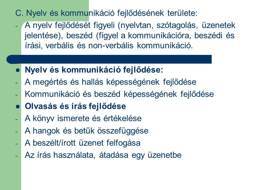 C. Nyelv és kommunikáció fejlődésének területe: - A nyelv fejlődését figyeli (nyelvtan, szótagolás, üzenetek jelentése), beszéd (figyel a kommunikáció