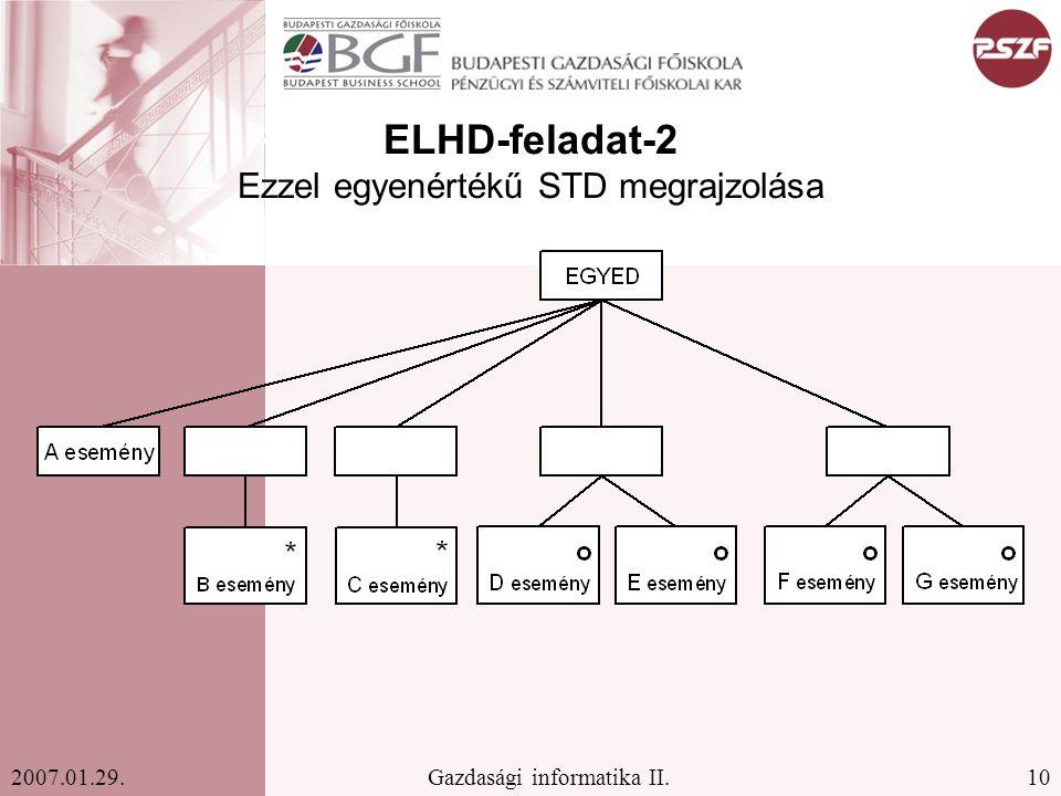 10Gazdasági informatika II.2007.01.29. ELHD-feladat-2 Ezzel egyenértékű STD megrajzolása
