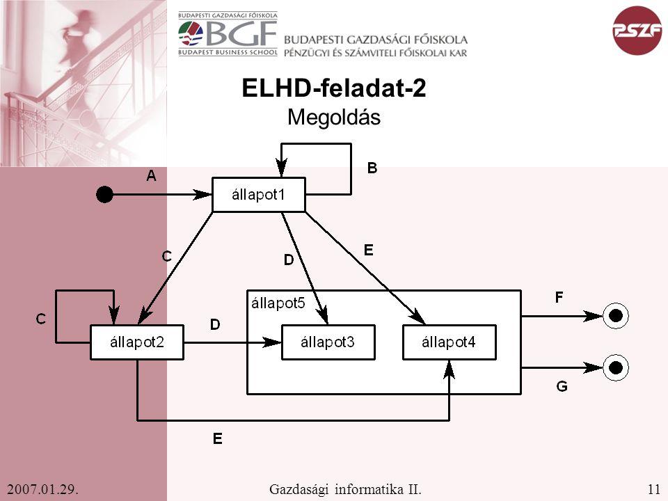11Gazdasági informatika II.2007.01.29. ELHD-feladat-2 Megoldás