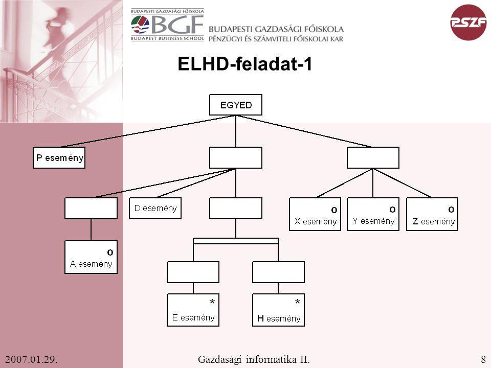 8Gazdasági informatika II.2007.01.29. ELHD-feladat-1