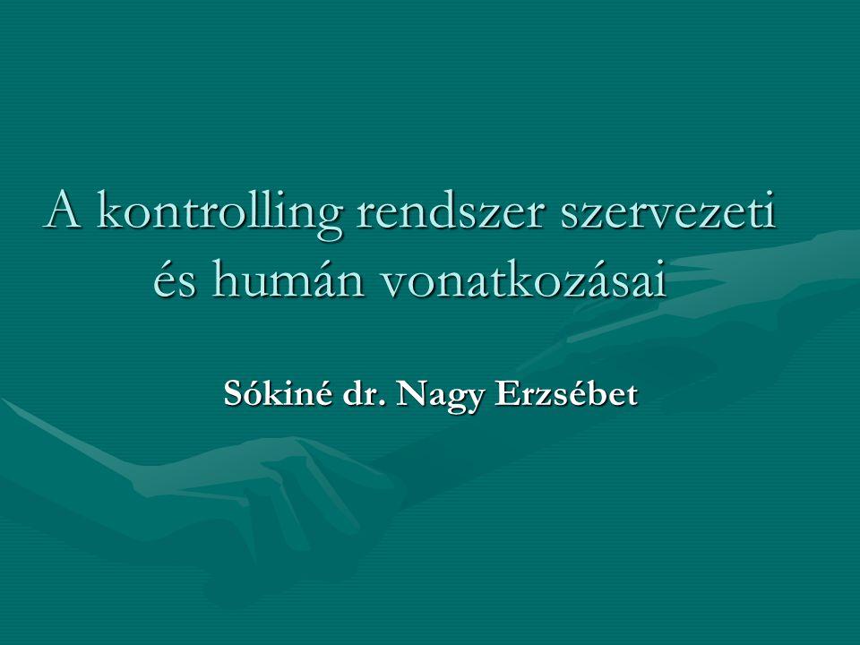 A kontrolling rendszer szervezeti és humán vonatkozásai Sókiné dr. Nagy Erzsébet