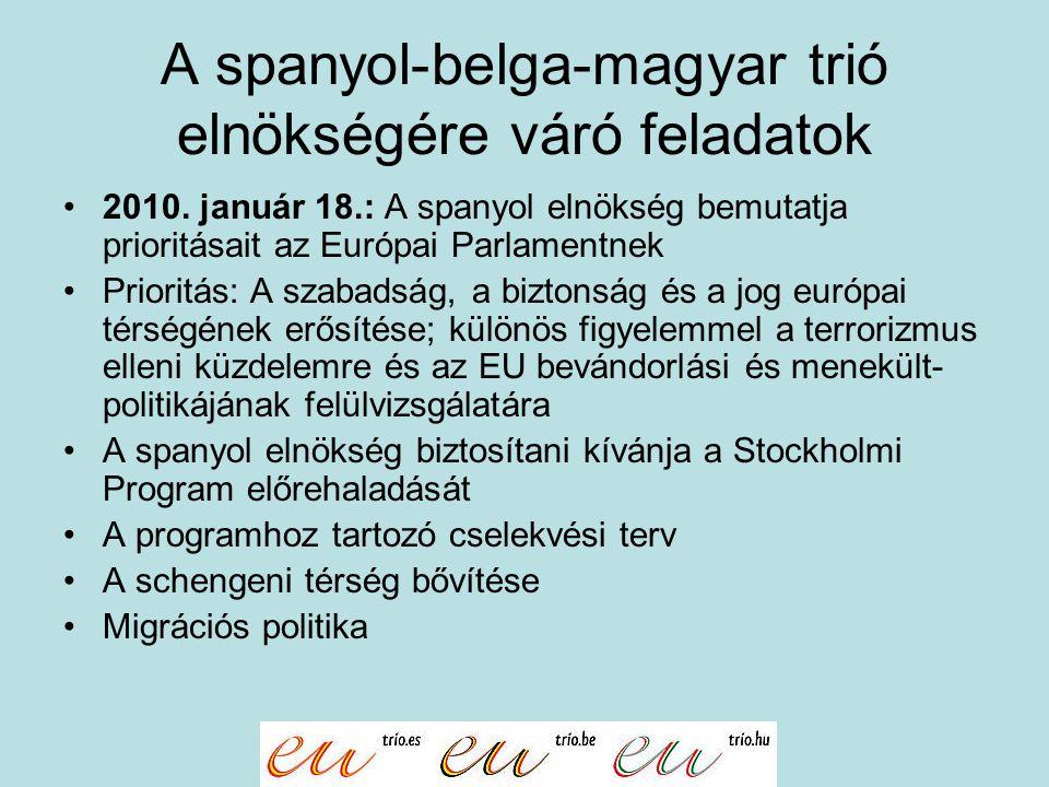 A spanyol-belga-magyar trió elnökségére váró feladatok 2010. január 18.: A spanyol elnökség bemutatja prioritásait az Európai Parlamentnek Prioritás: