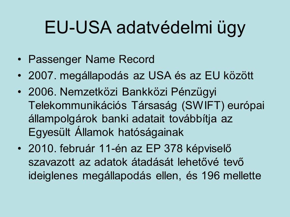 EU-USA adatvédelmi ügy Passenger Name Record 2007. megállapodás az USA és az EU között 2006. Nemzetközi Bankközi Pénzügyi Telekommunikációs Társaság (
