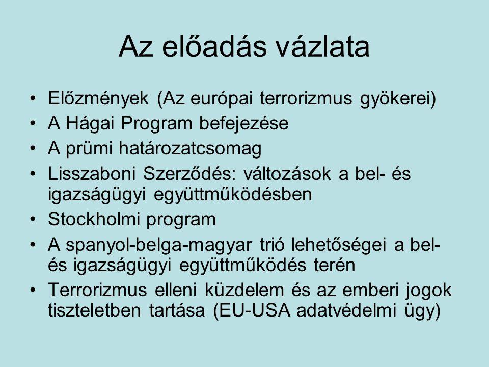 Az előadás vázlata Előzmények (Az európai terrorizmus gyökerei) A Hágai Program befejezése A prümi határozatcsomag Lisszaboni Szerződés: változások a