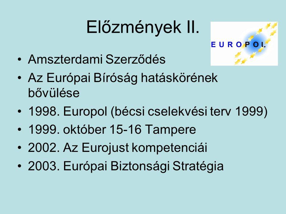 Előzmények II. Amszterdami Szerződés Az Európai Bíróság hatáskörének bővülése 1998. Europol (bécsi cselekvési terv 1999) 1999. október 15-16 Tampere 2