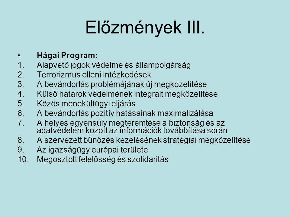 Előzmények III. Hágai Program: 1.Alapvető jogok védelme és állampolgárság 2.Terrorizmus elleni intézkedések 3.A bevándorlás problémájának új megközelí