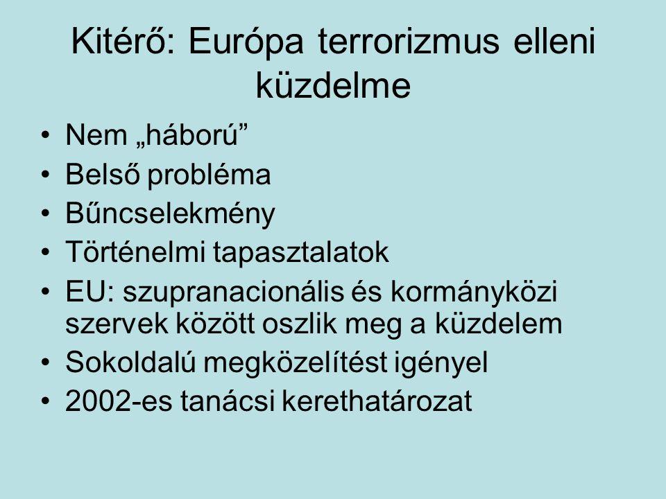 Regionális integrációk és a terrorizmus AU/Afrikai Egységszer vezet EBESZEUEurópa TanácsOAS Egyezmények, jogszabályok Algíri Egyezmény Európai Biztonsági Charta Tamperei célok, Hágai Program, ESS, Prümi Szerződés Terrorizmus elleni Küzdelem Európai Egyezményéne k kiegészítése 796-os, 797- es határozatok IntézményekACSRT, NEPAD Europol, VIS, SIS II GMT, CODEXTER CICTE