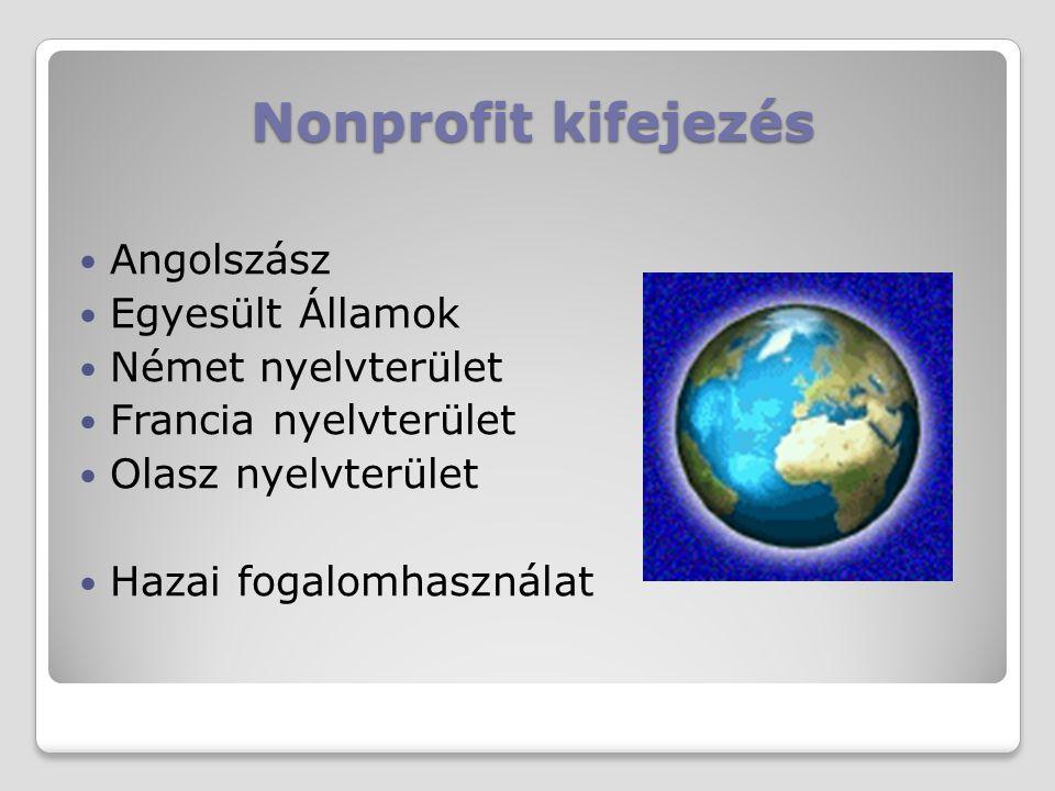 Nonprofit kifejezés Angolszász Egyesült Államok Német nyelvterület Francia nyelvterület Olasz nyelvterület Hazai fogalomhasználat