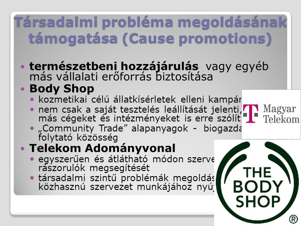 Társadalmi probléma megoldásának támogatása (Cause promotions) természetbeni hozzájárulás vagy egyéb más vállalati erőforrás biztosítása Body Shop koz