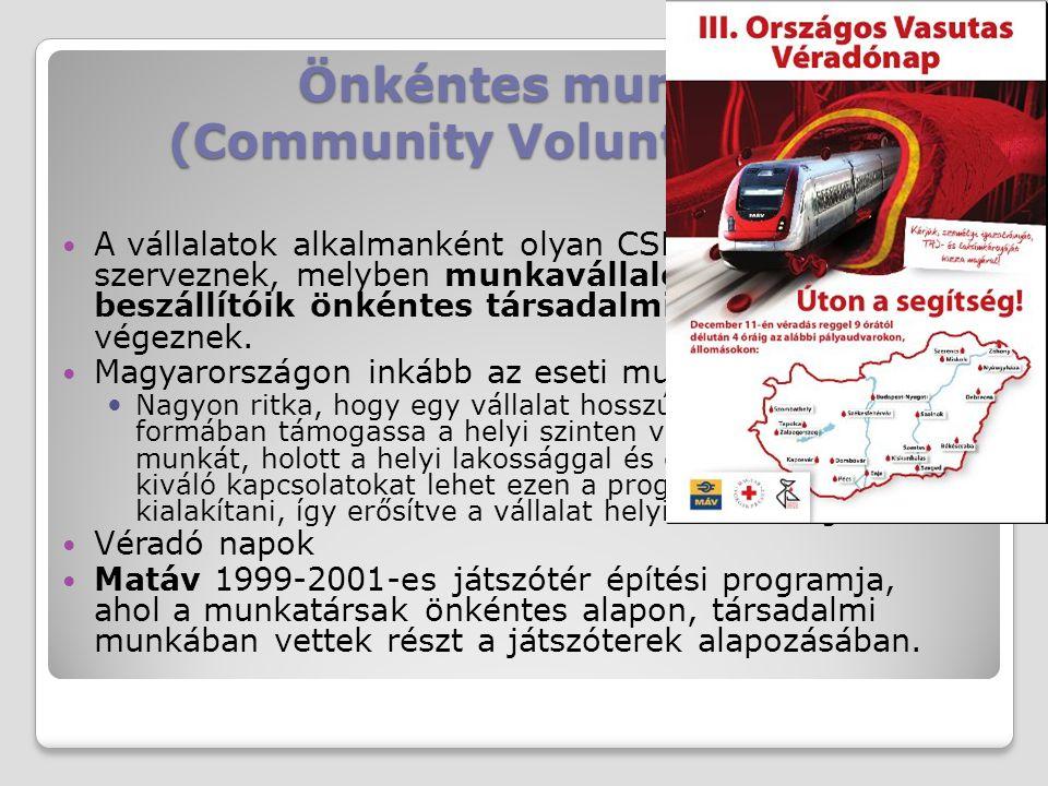 Önkéntes munka (Community Volunteering) A vállalatok alkalmanként olyan CSR tevékenységeket szerveznek, melyben munkavállalóik, partnereik, beszállító