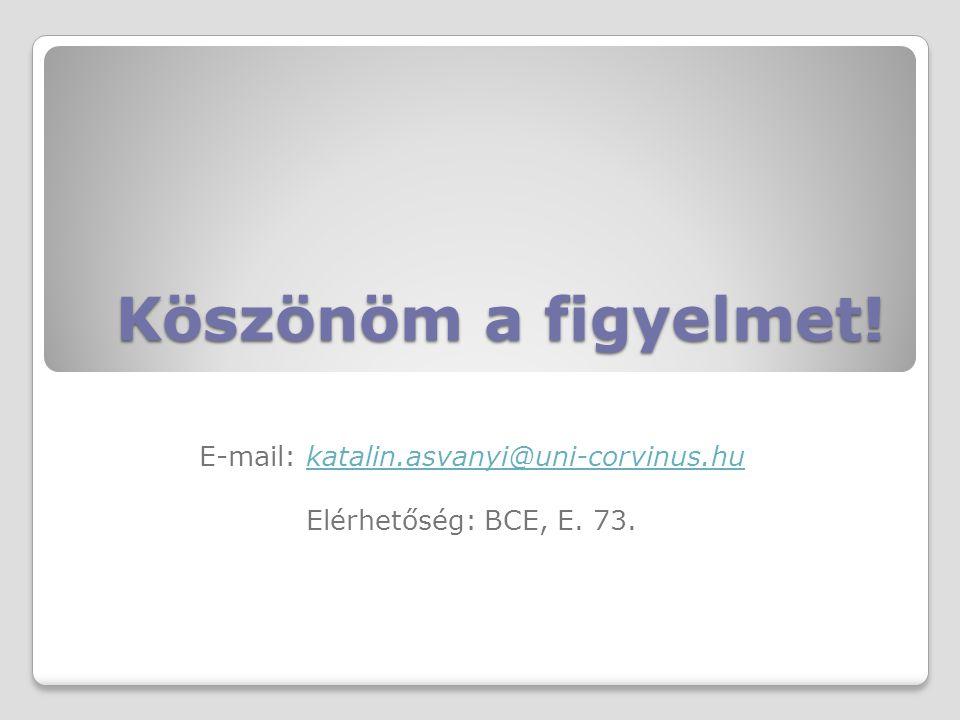 Köszönöm a figyelmet! E-mail: katalin.asvanyi@uni-corvinus.hukatalin.asvanyi@uni-corvinus.hu Elérhetőség: BCE, E. 73.